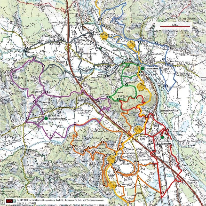 Hengist Kulturwanderweg Wegkarte